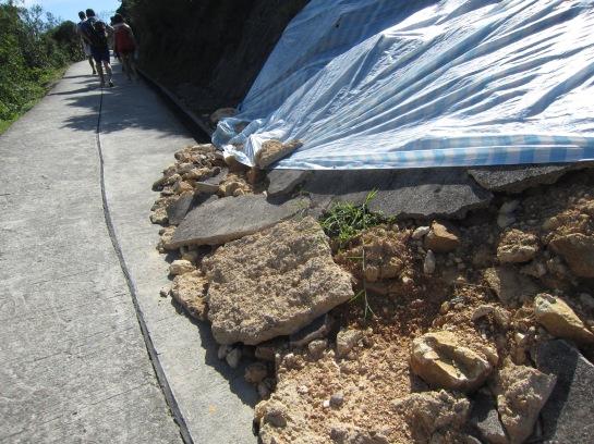 西灣亭至吹筒坳路段有多處山坡有山泥傾瀉,土木工程師Bert Leung指,相中路段仍有進一步倒塌危機。